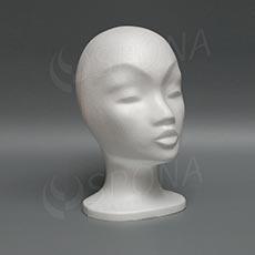 Hlava dámska MONA nízka, polystyrén, biela