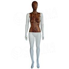 Figurína dámska WOOD 310, matná biela, drevený dekor