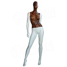 Figurína dámska WOOD 311, matná biela, drevený dekor