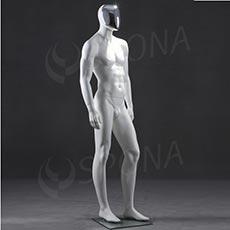 Figurína pánska CHROM 300, matná biela, maska chróm