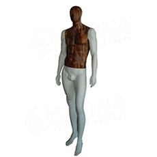 Figurína pánska WOOD 310, matná biela, drevený dekór