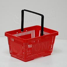 Košík nákupný, s jednou rúčkou červený plast