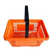 Košík nákupný s jednou rúčkou, oranžový plast