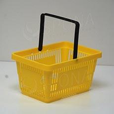 Košík nákupný s jednou rúčkou, žltý plast