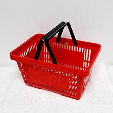 Košík nákupný, s dvomi rúčkami červený plast