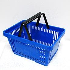 Košík nákupný, s dvomi rúčkami modrý plast