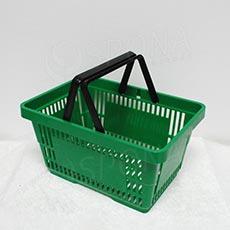 Košík nákupný, s dvomi rúčkami zelený plast