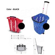 Košík nákupný na kolieskach, objem 38 l, čierny plast