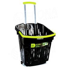 Košík nákupný na kolieskach ECO, objem 38 l, čierny plast