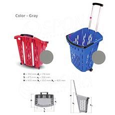 Košík nákupný na kolieskach, objem 38 l, šedý plast