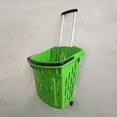 Košík nákupný na kolieskach, objem 38 l, zelený plast