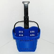 Košík nákupný na kolieskach, objem 43 L, modrý plast