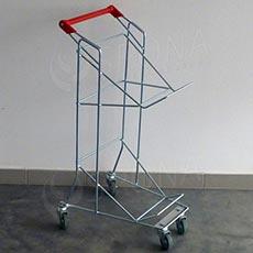 Vozík pre dva nákupné košíky, pojazdný s rúčkou