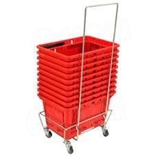 Vozík pre nákupné košíky KP, pojazdný s úchytom