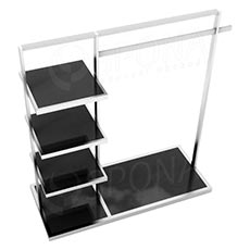 Štender 1221 s policami, výška 135 cm, šírka 120 cm, nerez a čierne sklo