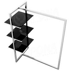 Štender 1222 s policami, výška 135 cm, šírka 100 cm, nerez a čierne sklo