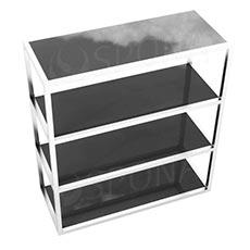 Štender 1225 s policami, výška138 cm, šírka 120 cm, nerez a čierne sklo