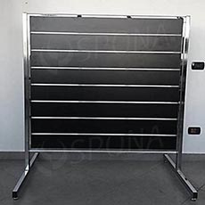 Stojan pre SLAT panely obojstranný, 150 x 120 x 150 cm, chróm, bez panela