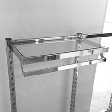 VARIANT rám police s vešiakovou tyčou, 663 x 360 mm so sklenenou policou