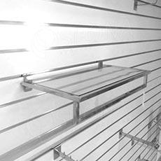 SLAT rám police 663 x 300 mm s vešiakovou tyčou a sklenenou policou