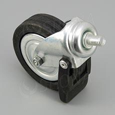 Koliesko priemer 80 mm, závit M10 x 15 mm, s brzdou, kov