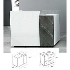 Pult predajný UNO 120 x 70 x 100 cm, vysoký lesk, biela farba