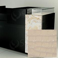 Čelný panel pre predajný pult UNO, umelá koža, smotanová