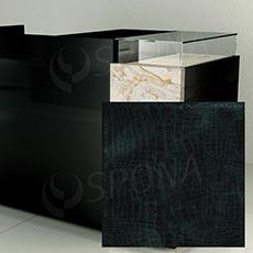 Pult predajný UNO - čelný panel, umelá koža, čierna