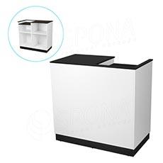 Pult pokladničný BASIC 99, 1200 x 600 x 990 mm, biele a čierne LTD