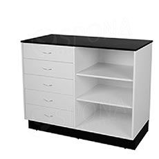 Pult predajný BASIC, 1200 x 600 x 970 mm, biele a čierne LTD