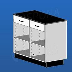 Pult predajný BOX, 2 zásuvky, 1200 x 600 x 940 mm, biele a čierne LTD