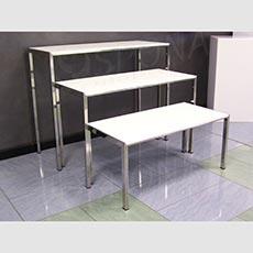Stolček výstavný 880 x 400 x 580 mm, chróm, biela LTD