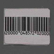Bezpečnostná etiketa papierová, 30 x 40 mm, čiarový kód, frekvencia 8,2 MHz